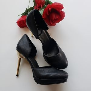 H&M BLACK W/ GOLD STEM HIGH HEELS